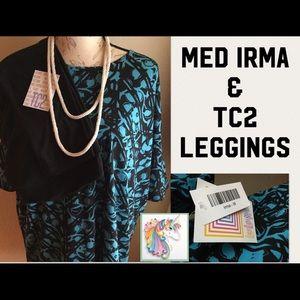 2 pc set LularoeMED IRMA, TC2 Solid Black Leggings